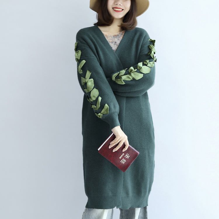 Stylish green oversized knit cardigans plus size sweater coats