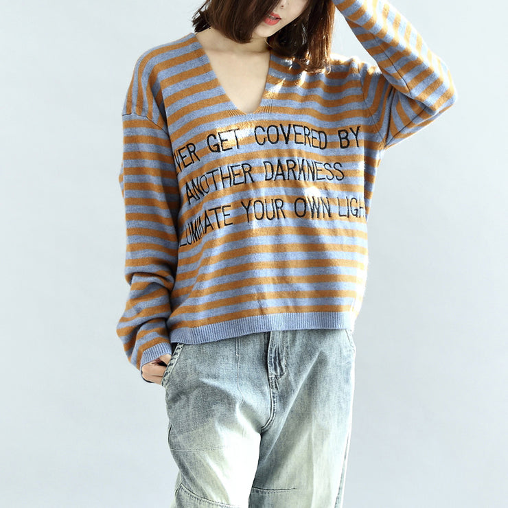 Stylish striped cotton sweaters blue and khaki warm pullover knit sweaters