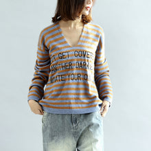 Load image into Gallery viewer, Stylish striped cotton sweaters blue and khaki warm pullover knit sweaters