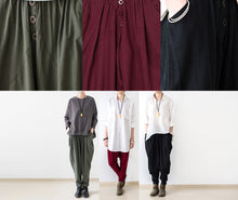Load image into Gallery viewer, Stylish tea green linen carrot pants oversize causal cotton harem pants