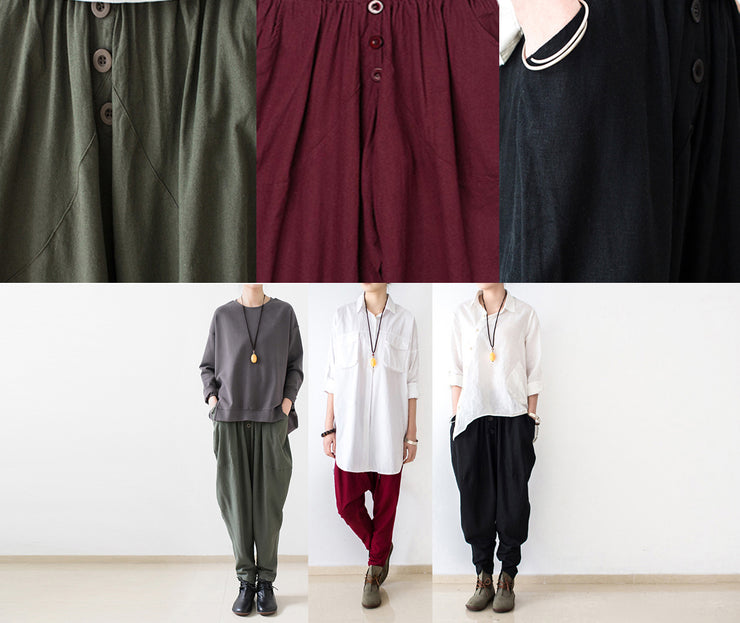 Stylish tea green linen carrot pants oversize causal cotton harem pants