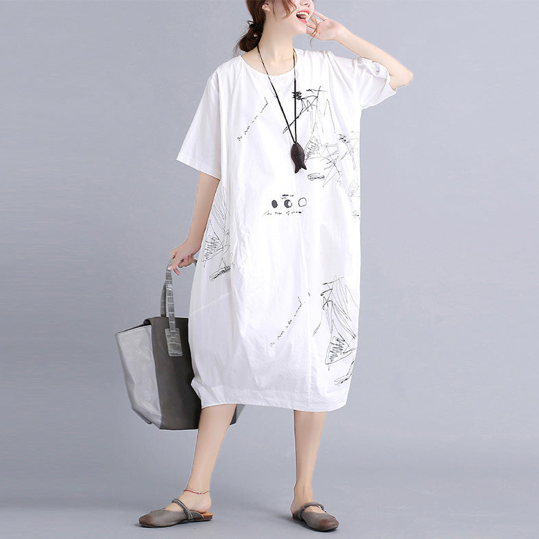 Summer Dress Shirt Casual Women European Style T-shirt Dresses