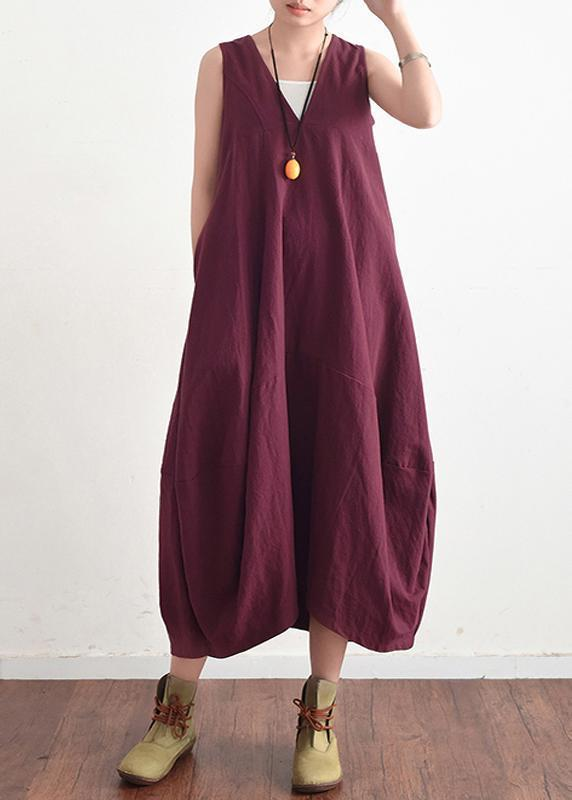 Summer V Neck Cotton Linen Long Dress Solid Baggy Casual Lace Up Backless