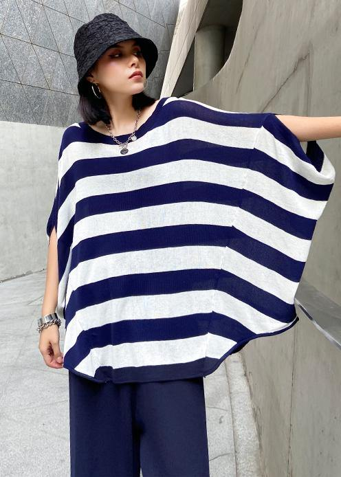 Summer casual fashion age reduction large size striped bat sleeve T-shirt + wide leg pants two-piece suit
