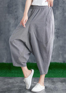 Summer cotton linen plaid loose Harlan pants micro fat mm foreign casual pants