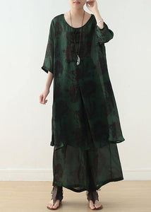 Summer green Chinese Button Print o Neck Silk Satin Top Wide Leg Pants Two Piece