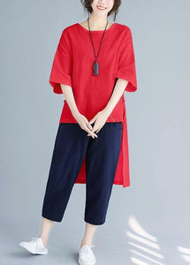 Summer loose large size solid color wild five-point sleeve red shirt harem pants suit