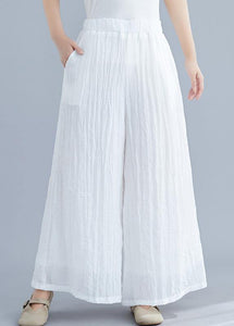 Summer new cotton and linen white wide leg pants loose yoga Chinese trousers