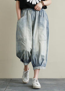 Summer new cropped denim bloomers women loose large size blue harem pants
