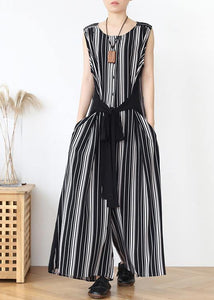Summer new loose large size travel beach chiffon striped jumpsuit jumpsuit