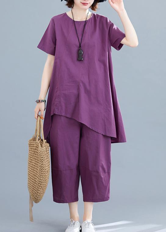Summer new loose large size women's purple fashion irregular short-sleeved shirt + pants casual cotton and linen