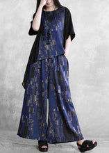Load image into Gallery viewer, Summer new stitching suit wide irregular ethnic blue printing two-piece