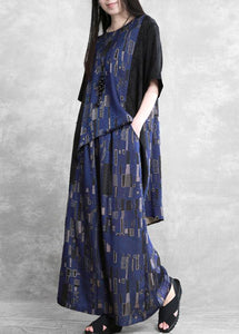 Summer new stitching suit wide irregular ethnic blue printing two-piece