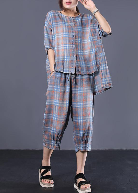 Summer retro plaid casual shirt denim two pieces
