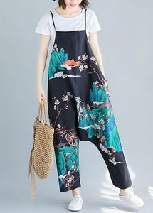 Summer simple fashion print personality bib nine points casual piece harem pants