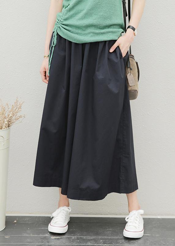 Summer women's new elastic waist fat legs large size black nine-point pants skirt