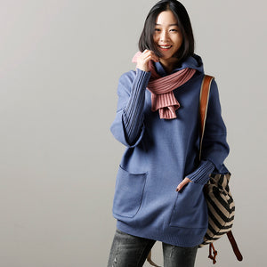 Sweater weather Upcycle big pockets blue daily knit top hooded fall