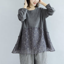 Load image into Gallery viewer, Sweet lace patchwork cotton knit sweaters gray pullover knit tops