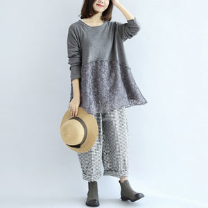 Sweet lace patchwork cotton knit sweaters gray pullover knit tops