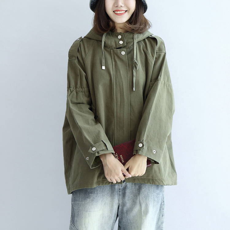 Tea green oversized trench coats plus size short hoodies outwear