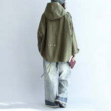 Load image into Gallery viewer, Tea green oversized trench coats plus size short hoodies outwear