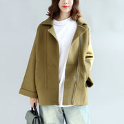 Tea green zippered woolen short coats oversize jackets cape coat