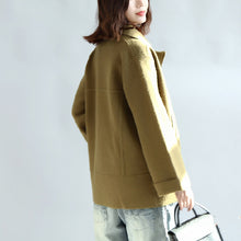 Afbeelding in Gallery-weergave laden, Tea green zippered woolen short coats oversize jackets cape coat