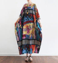 Load image into Gallery viewer, The secret world print linen dresses oversize caftans 2017 fall cotton gown