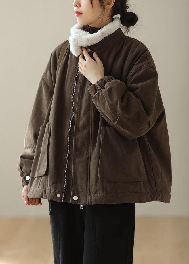 Thick Chocolate Outwear Stand Collar Zippered Outwear