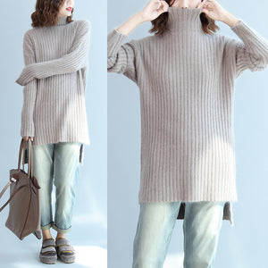 Thick warm woolen high neck sweater loose slim fit casual long sleeve knitted sweaters