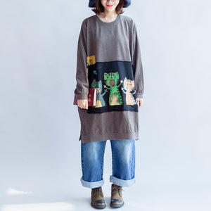 Three happy cats print cotton dresses oversized sweat dress pullover