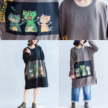 Load image into Gallery viewer, Three happy cats print cotton dresses oversized sweat dress pullover