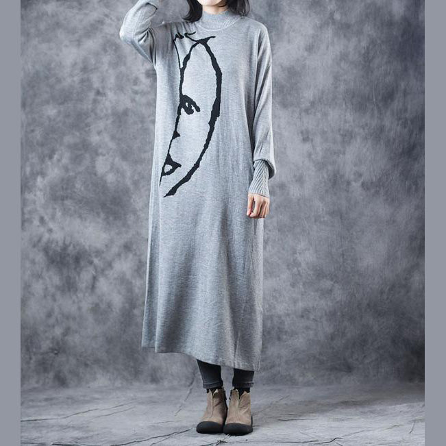 Top Quality Black And Gray High Neck Maxi Sweater Dresses For Women