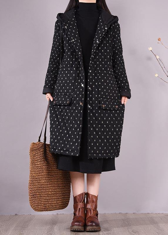 Top Quality Loose Fitting Coats Black Hooded Pockets Casual Outfit