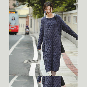 Top quality Black And Blue Loose Thicken Sweater Dresses For Women