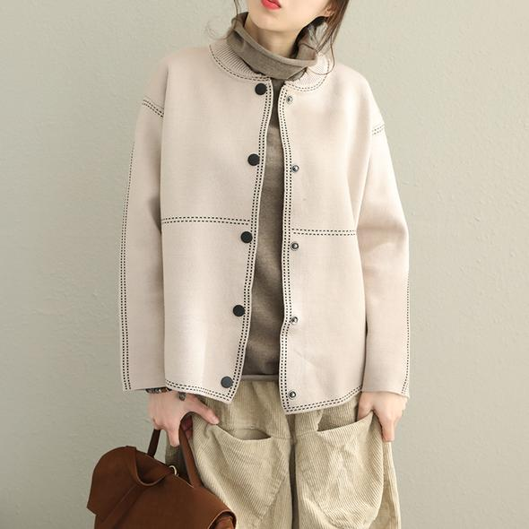 Top quality Loose Button Down Sweater Coat Women Casual Tops