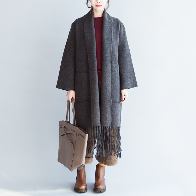 Top quality gray cashmere coats tasseled hem woolen jackets long cardigans warm