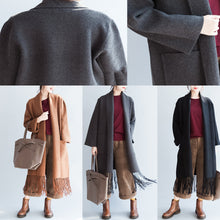 Load image into Gallery viewer, Top quality gray cashmere coats tasseled hem woolen jackets long cardigans warm