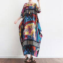 Load image into Gallery viewer, Tropical element floral baggy linen dresses oversize caftans gown casual style