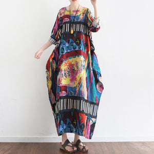 Tropical element floral baggy linen dresses oversize caftans gown casual style