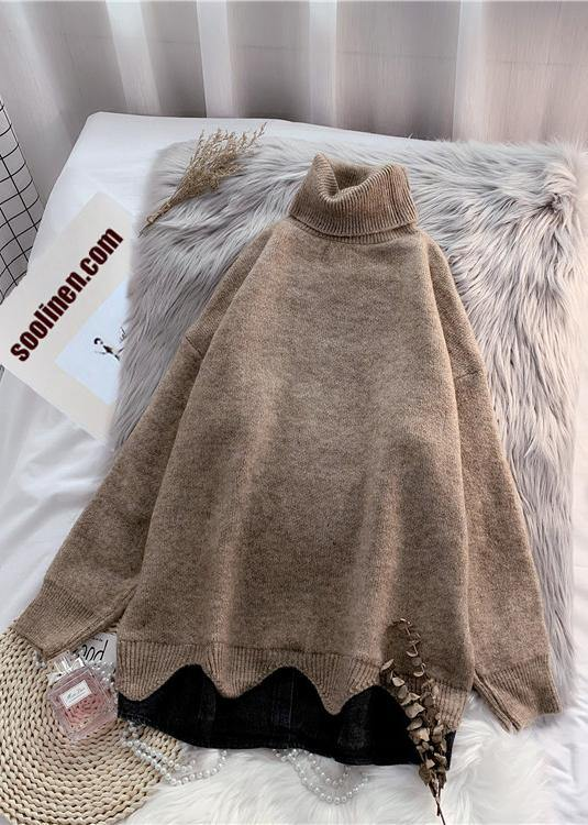 Turtleneck sweater 2020 autumn and winter loose beige net red thick top