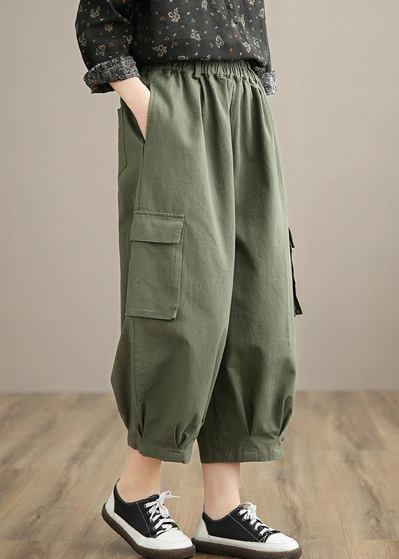 Unique Army Green High Waist Stylish Spring Elastic Waist Pockets Shape Wild Trousers
