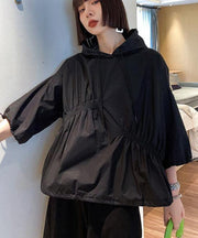 Unique Black hooded Cinched Half Sleeve Top