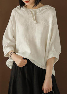 Unique Blouse Indian Linen Summer Literary White Hooded Three Quarter Sleeve T-shirt
