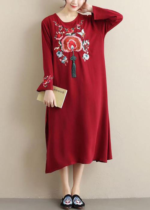 Unique Burgundy Embroidery Tunic Pattern O Neck Tassel Spring Dress