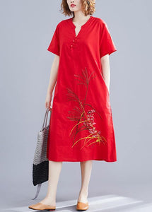 Unique Chinese Button cotton clothes design red embroidery Dresses summer