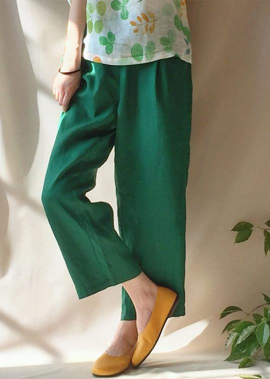 Unique Green Pants Summer Pockets Elastic Waist Sewing Pant