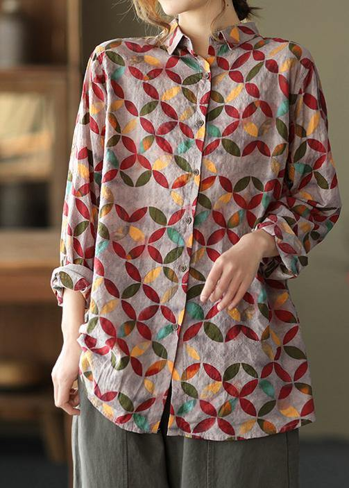 Unique Lapel Patchwork Spring Tunic Pattern Photography Red Print Blouse