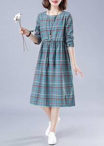 Unique O Neck Drawstring Spring Dress Runway Blue Plaid Dresses