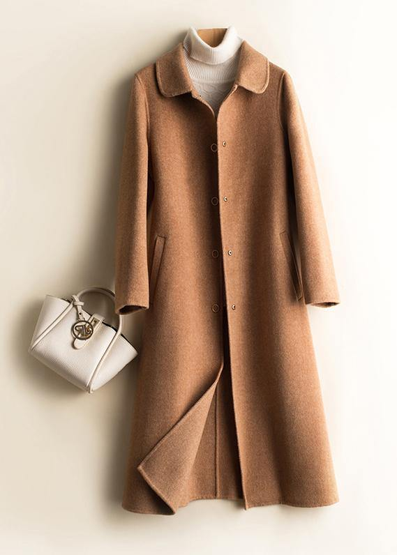 Unique Peter pan Collar pockets top quality trench coat brown daily women Woolen Coats